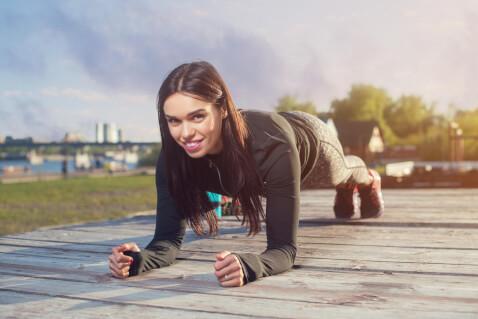Woman doing forearm plank