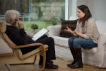 Therapist or psychologist in a session with a patient.