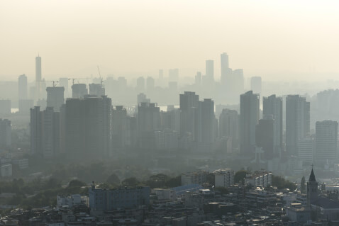 A city with heavy air pollution.