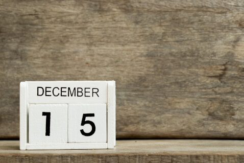 Calendar with the date reading December 15.